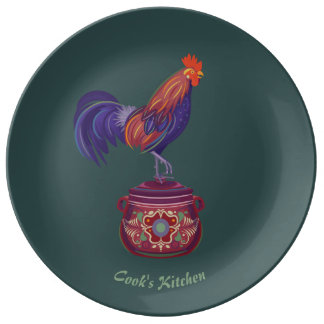 Rooster Porcelain Plate