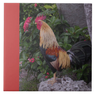 Rooster Proud and Colorful Large Square Tile