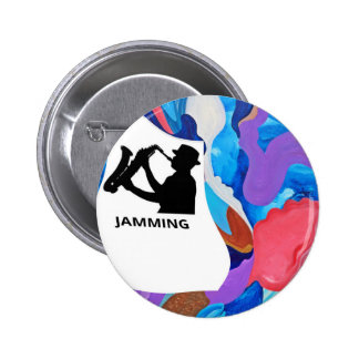 Rooster Saxophone Jamming 6 Cm Round Badge