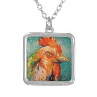 Rooster, Silver Plated Necklace