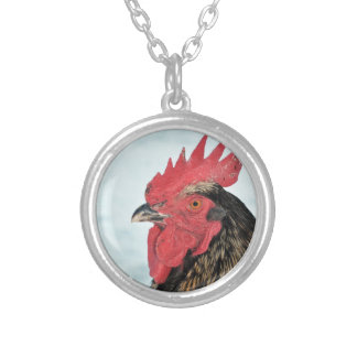 Rooster Silver Plated Necklace