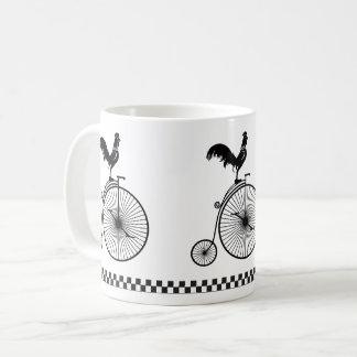 Rooster Sitting on Vintage Bicycle Coffee Mug