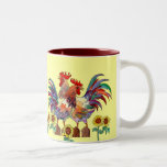 ROOSTER SUNFLOWER CUP by SHARON SHARPE Two-Tone Mug