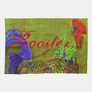 Rooster towels set of 3. Cobalt blue, red, green