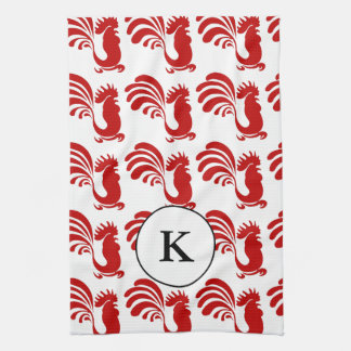 Rooster w/Monogram Tea Towel