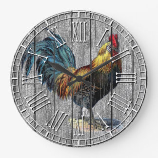 Rooster Weathered Pine Large Clock