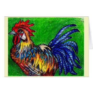 Rooster With Green Card