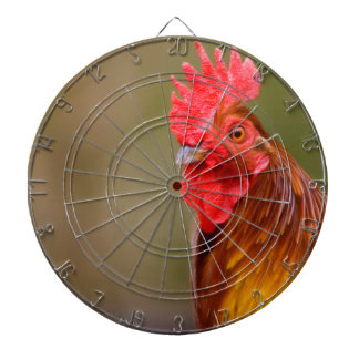 Rooster with Red Comb Head Dart Board