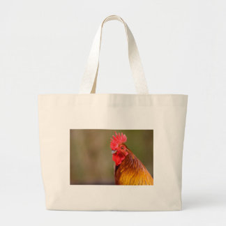 Rooster with Red Comb Head Large Tote Bag