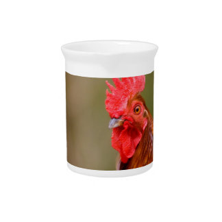 Rooster with Red Comb Head Pitcher