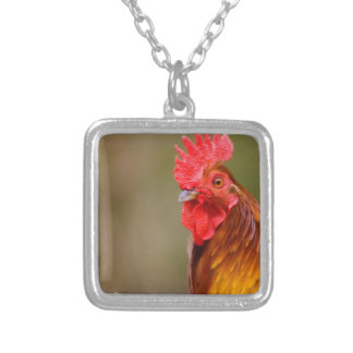 Rooster with Red Comb Head Silver Plated Necklace