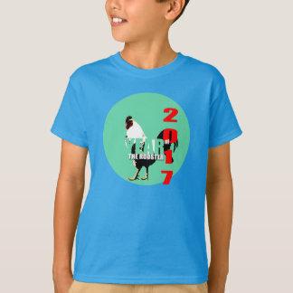 Rooster Year 2017 Green Circle Kids Shirt