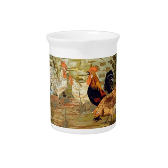 Roosters and hens pitcher