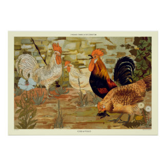 Roosters and hens poster