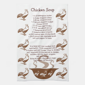 Roosters and Soup Bowl Chicken Soup Recipe Towels