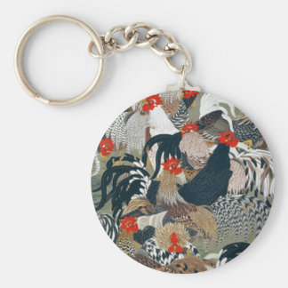Roosters by Ito Jakuchu Basic Round Button Key Ring