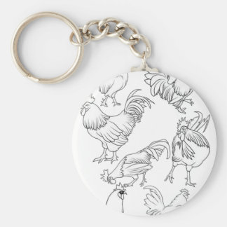 Roosters drawing  design basic round button key ring