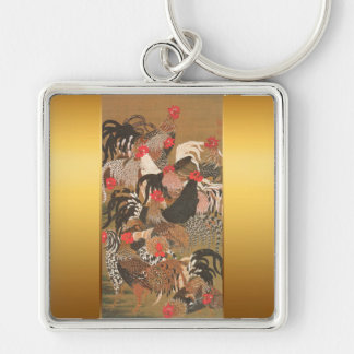 Roosters New Year 2017 Japanese Painting Keychain