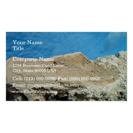 Root fossils in limestone seawall business card