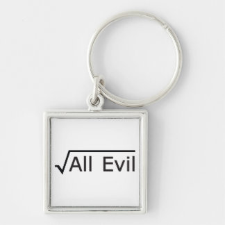 Root of All Evil - Math Humor / Math Geek Silver-Colored Square Key Ring