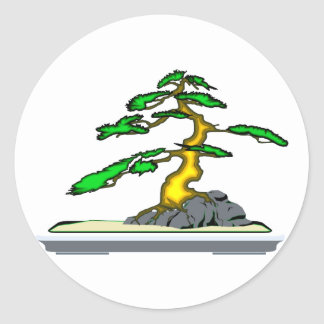 Root Over Rock Bonsai Old in Grey Tray Classic Round Sticker