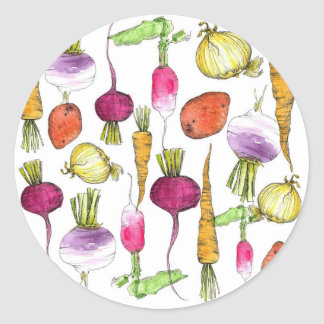 Root Vegetable Watercolor Illustration Art Classic Round Sticker