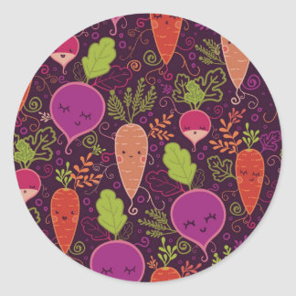 Root vegetables characters pattern classic round sticker