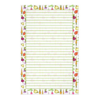 Root Vegetables Drawing Garden Lined Personalized Stationery