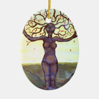 """Rooted"" Tree Goddess Art Ceramic Ornament"