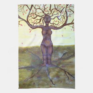 """Rooted"" Tree Goddess Fantasy Art Tea Towels"