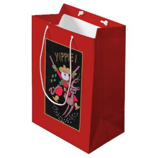 Rootin Tootin Cowboy Santa Medium Gift Bag