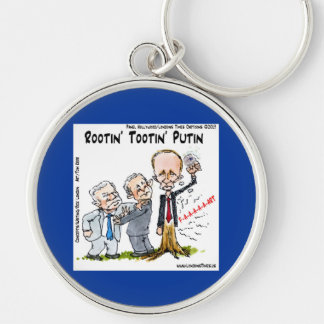 Rootin' Tootin' Putin Funny Silver-Colored Round Key Ring
