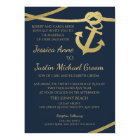 Rope Anchor Gold and Navy Blue Wedding Card
