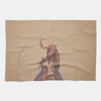 Rope 'em While They're Hot Cowgirl Kitchen Towel
