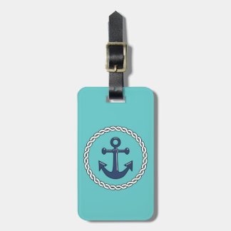Rope n Anchor Aqua Personalized Luggage Tag