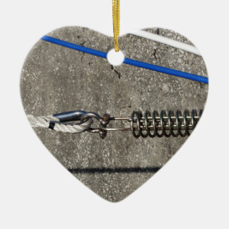 Rope sling with safety anchor shackle ceramic heart decoration