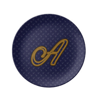 Rope Style Monogram Letter A Porcelain Plates