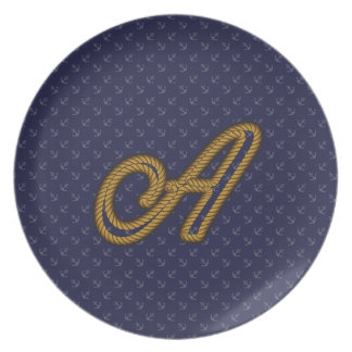 Rope Style Monogram Letter A Dinner Plates