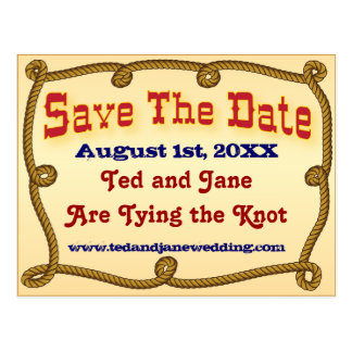 Rope western save the date postcard