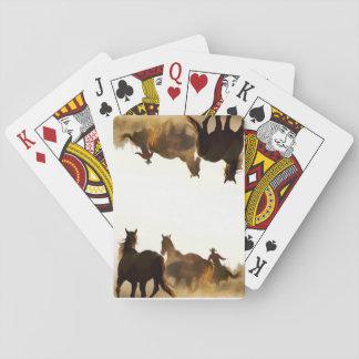 roping cowboy playing cards