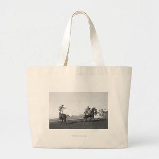 Roping horse tote bags