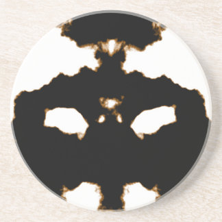 Rorschach Test of an Ink Blot Card on White Coaster