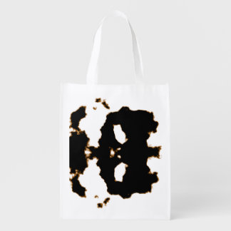 Rorschach Test of an Ink Blot Card on White Reusable Grocery Bag