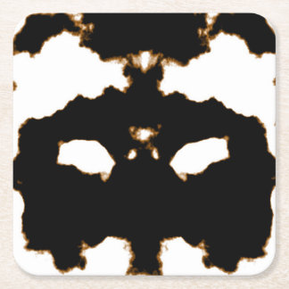 Rorschach Test of an Ink Blot Card on White Square Paper Coaster