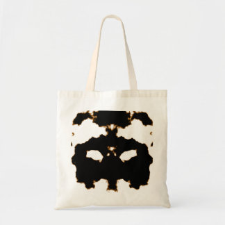 Rorschach Test of an Ink Blot Card on White Tote Bag