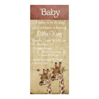 "Rosa Bronze & Blue  Giraffes Baby Invitation 4"" X 9.25"" Invitation Card"