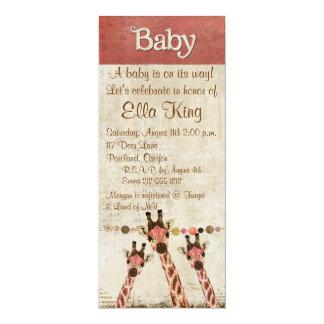 """Rosa & Copper  Giraffes Baby Invitation 4"""" X 9.25"""" Invitation Card"""