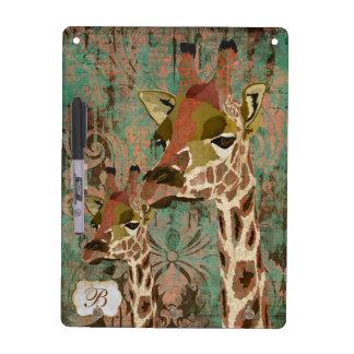 Rosa Giraffe Damask Dry Erase Board