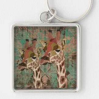 Rosa Giraffes  Damask Keychain