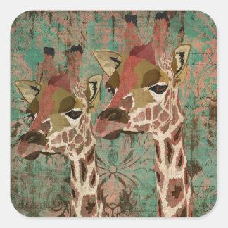 Rosa Giraffes Damask Sticker